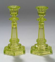Pair of Canary Yellow Pressed Glass Candlesticks